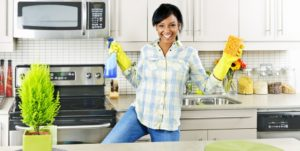 Cleaners Happy with Clean kitchen